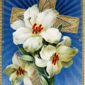 Free vintage clip art Easter lily and cross postcard image