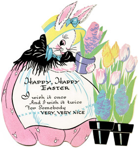 vintage easter clipart, antique easter card, easter bunny graphic, digital easter image