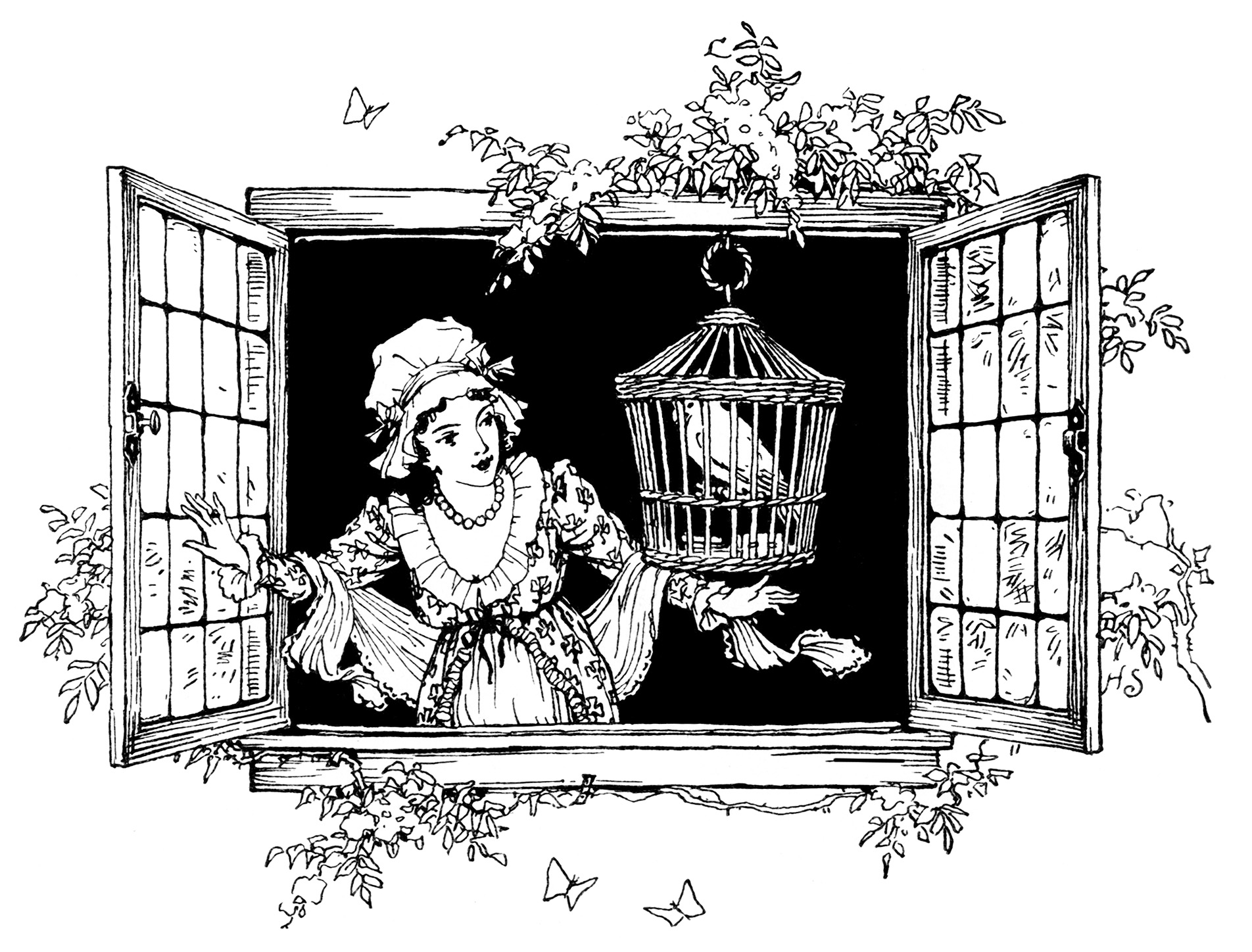 clipart victorian, girl and bird in window, black and white clip art, open window, vintage image