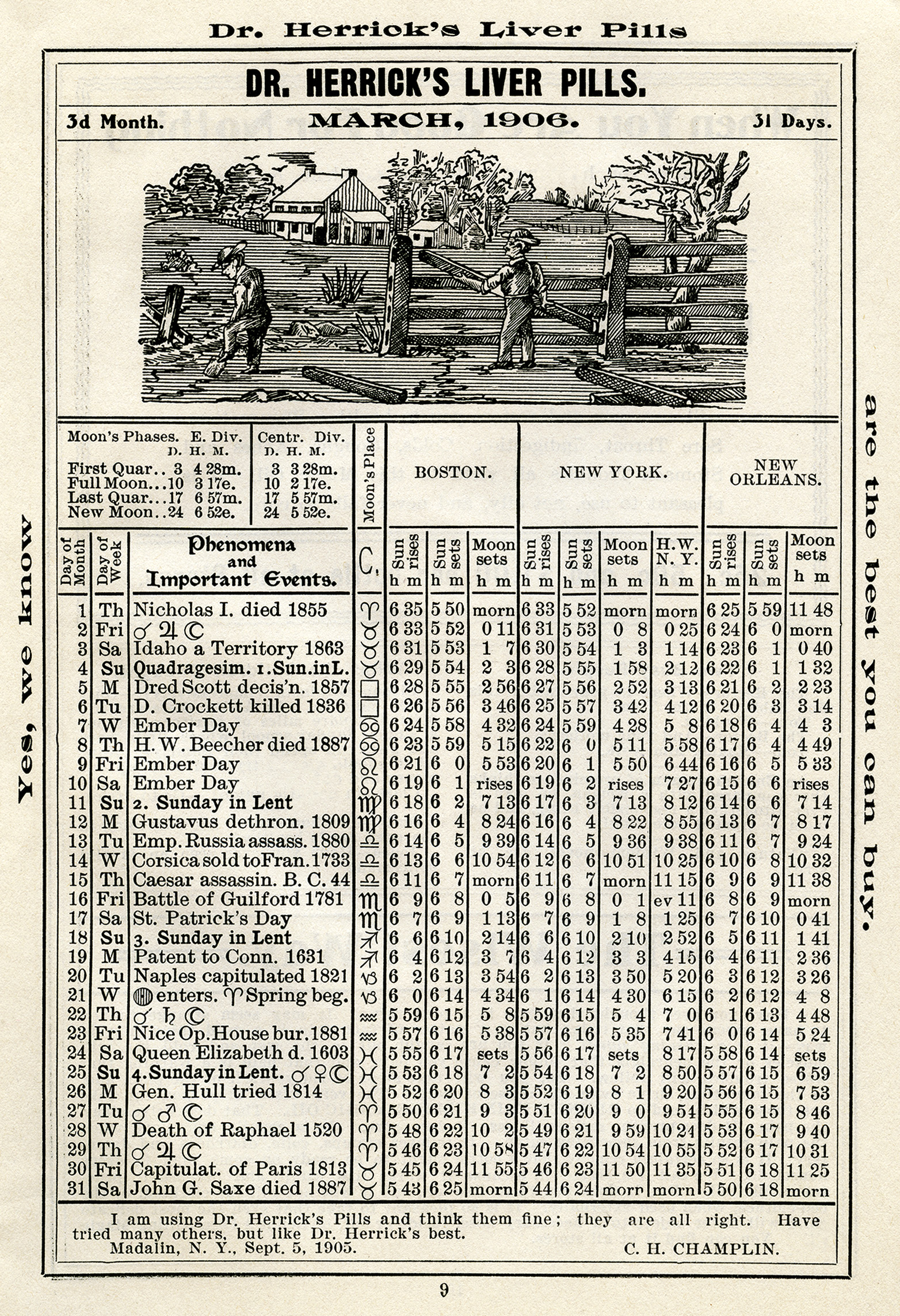 antique almanac, free digital almanac page, old book page, March 1906, herricks almanac