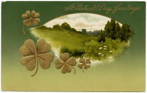 Free vintage clip art St Patricks Day postcard green meadow shamrocks