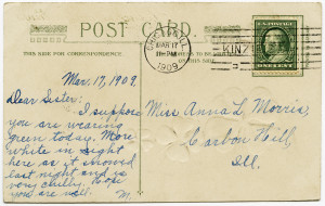 Free vintage clip art postcard back with handwriting postmarked