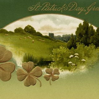 Free vintage clip art St Patricks Day postcard green meadow shamrocks