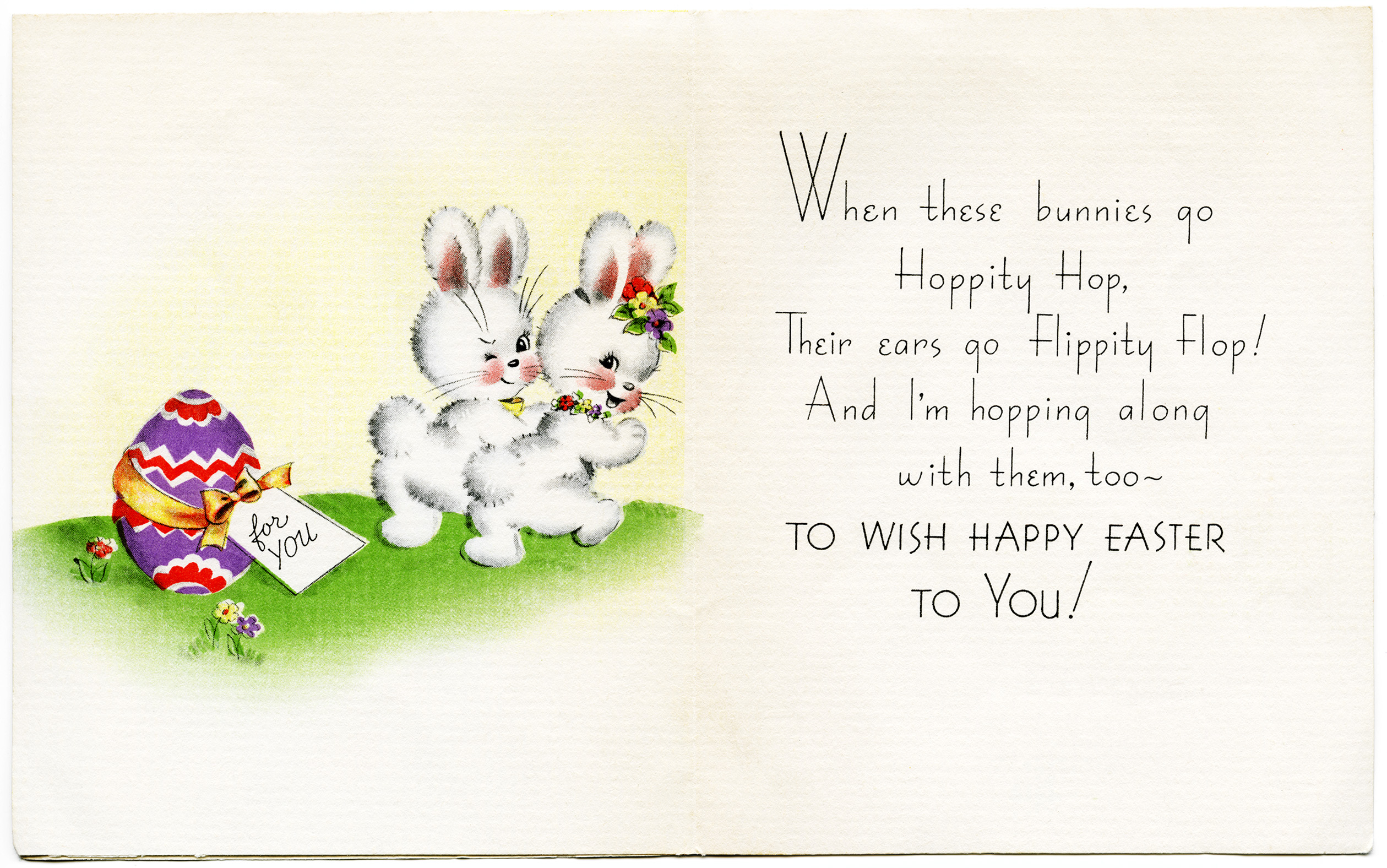 Easter card messages free vintage image bunnies easter card old design shop blog m4hsunfo