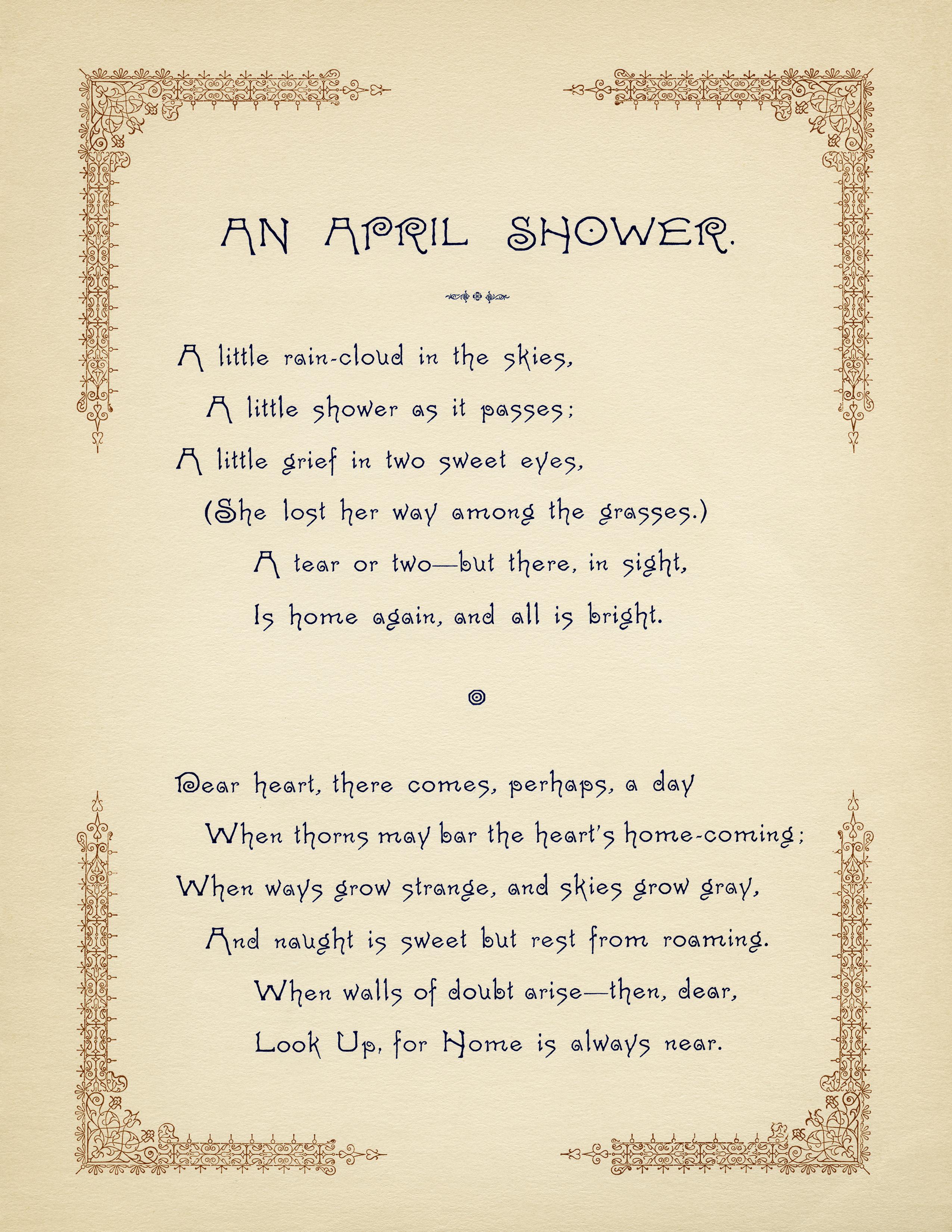 Free Vintage Image An April Shower Poem | Old Design Shop Blog