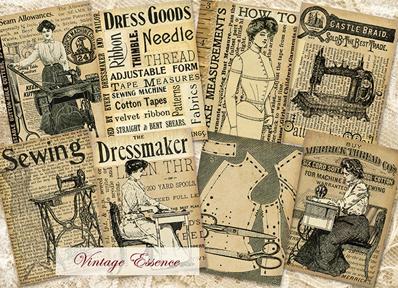 vintage sewing, sewing atc, digital atc, sewing cards, old fashioned sewing