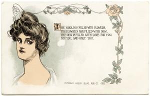 adolph selige, victorian lady, free vintage postcard, old postcard image, antique postcard download