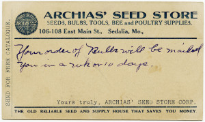 Free vintage clip art postcard Archias seed store