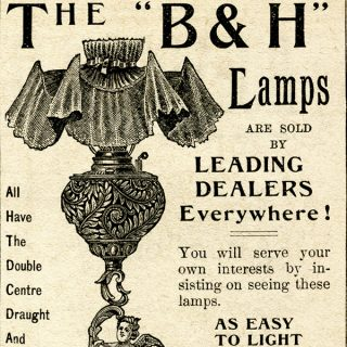 Free vintage clip art Bradley Hubbard lamp magazine advertisement