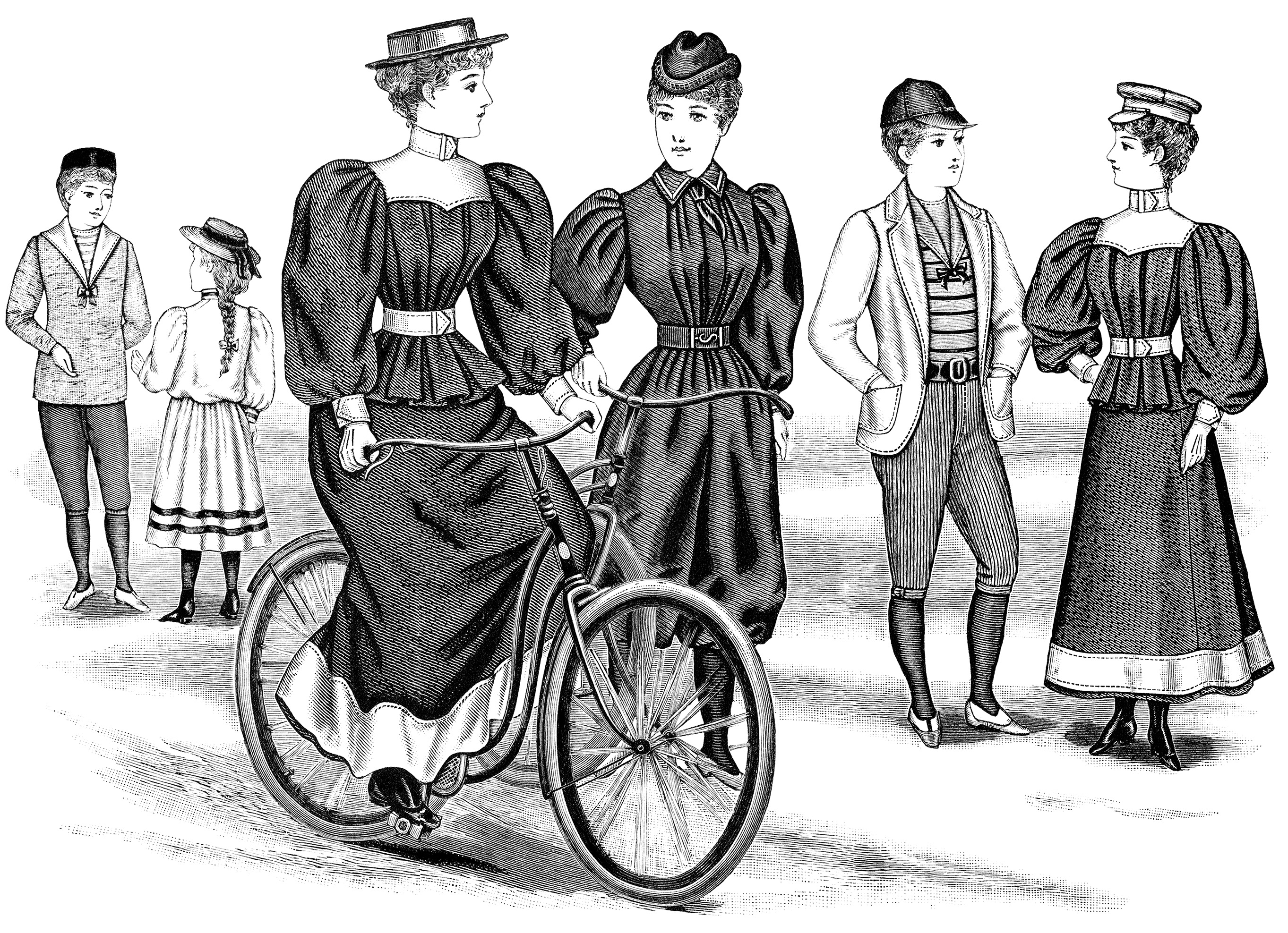 vintage bicycle outfits, Victorian fashion illustration, black and white clipart, antique bike image, printable digital graphics