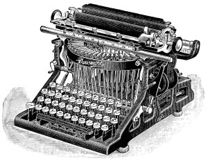 Free vintage black and white clip art Densmore typewriter