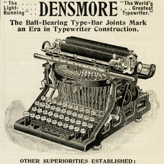 free vintage clip art Densmore typewriter magazine advertisement