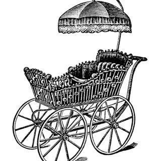 Free vintage baby carriage clip art illustration