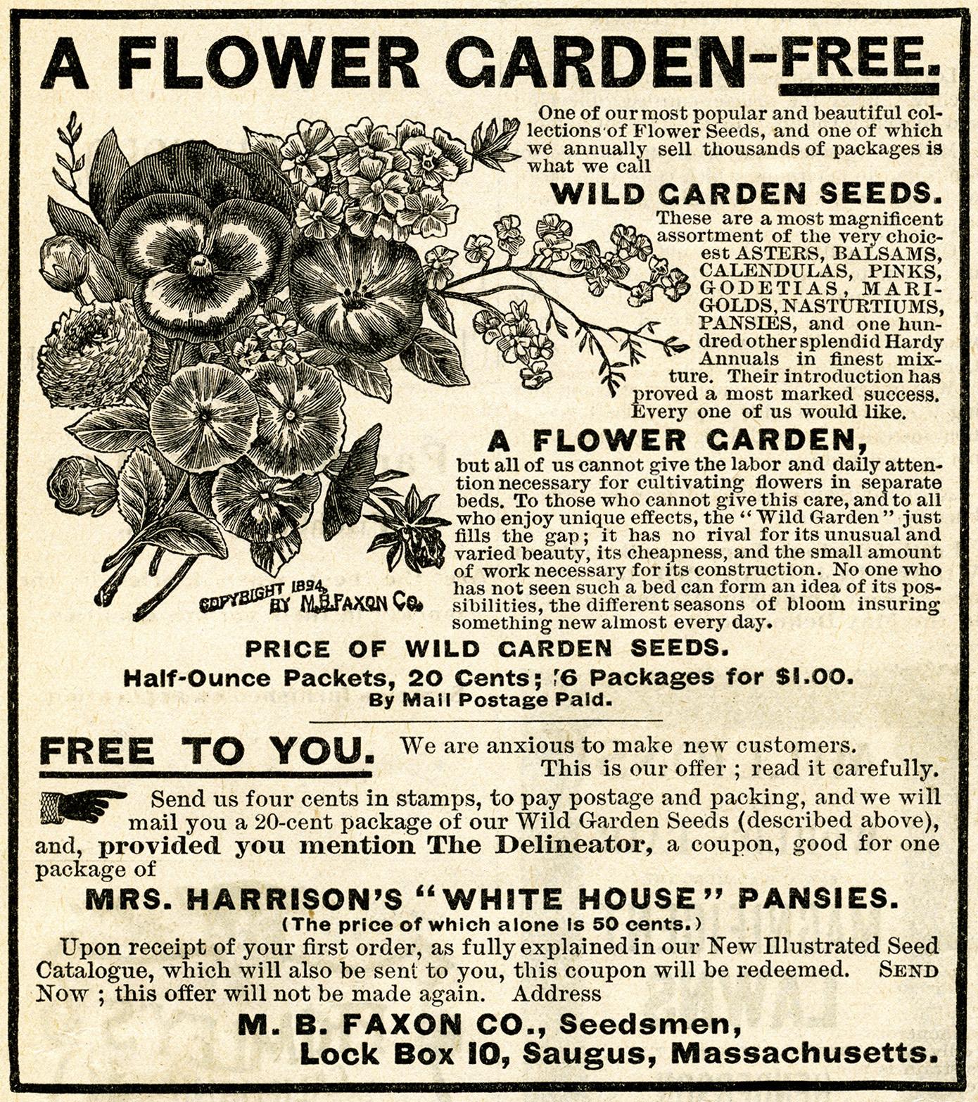 Flower Garden Seeds Free Clip Art Old Design Shop Blog