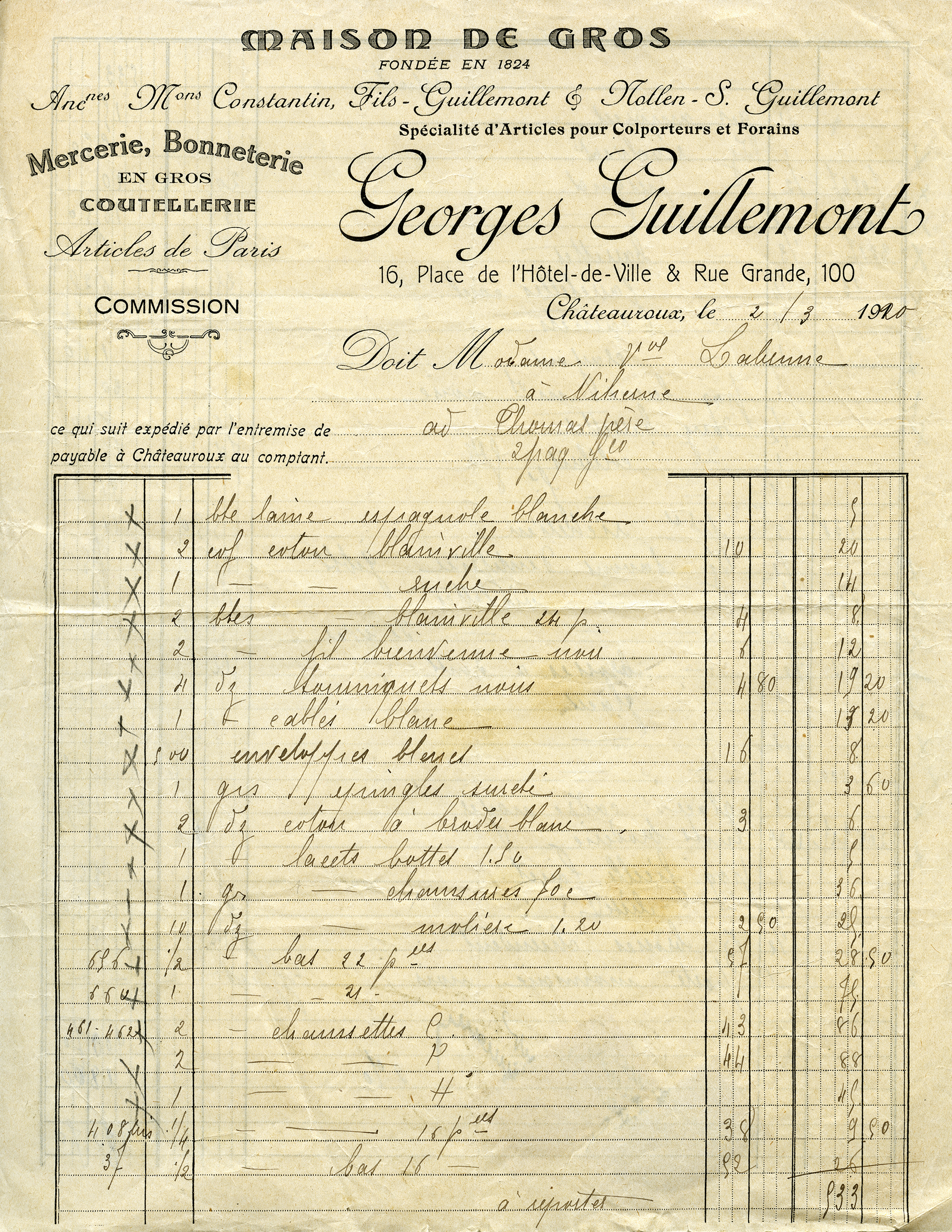 Free Vintage Image Georges Guillemont French Receipt Old Design Shop Blog