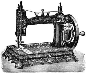 Free vintage clip art sewing machine