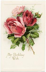 Free vintage clip art birthday postcard roses