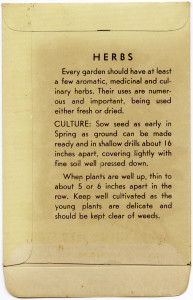Free vintage clip art garden seed packet back herbs