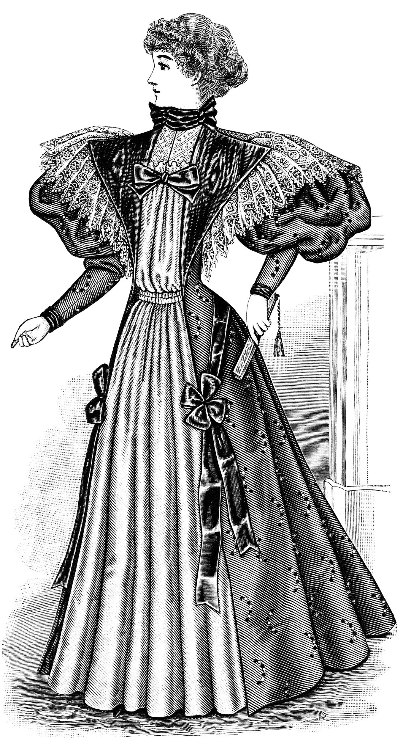 Free Vintage Image Victorian Ladies Tea Gown