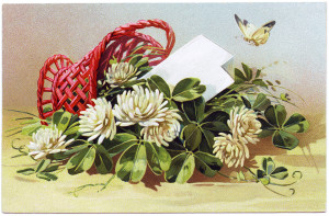 Free vintage clip art basket of clover tipped over butterfly above Tuck postcard