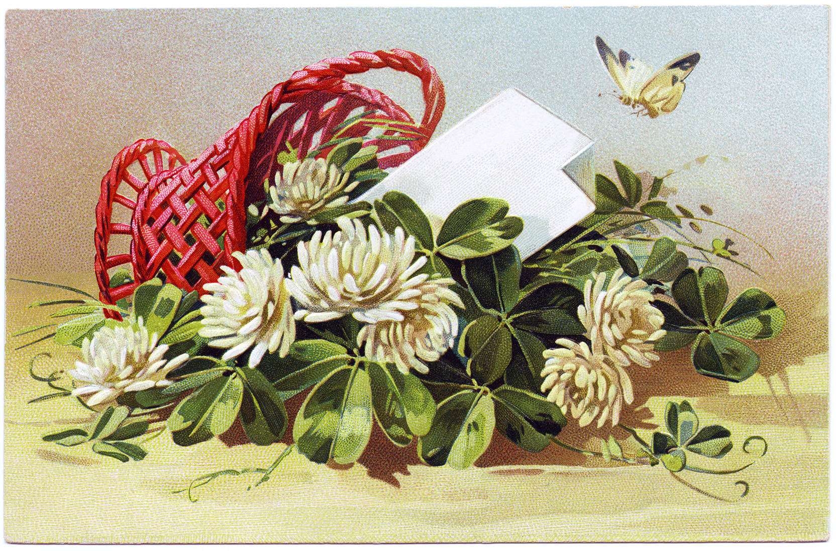 Vintage Flowers Birthday Cards ~ Free vintage image flowering clover postcard old design shop