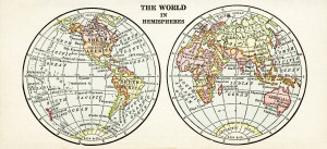 world in hemispheres, free vintage image, world map clip art, antique map graphics, old geography illustration