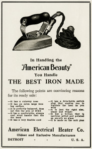 Free vintage clip art American Beauty iron magazine advertisement