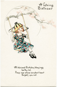 Free vintage clip art girl on swing birthday postcard
