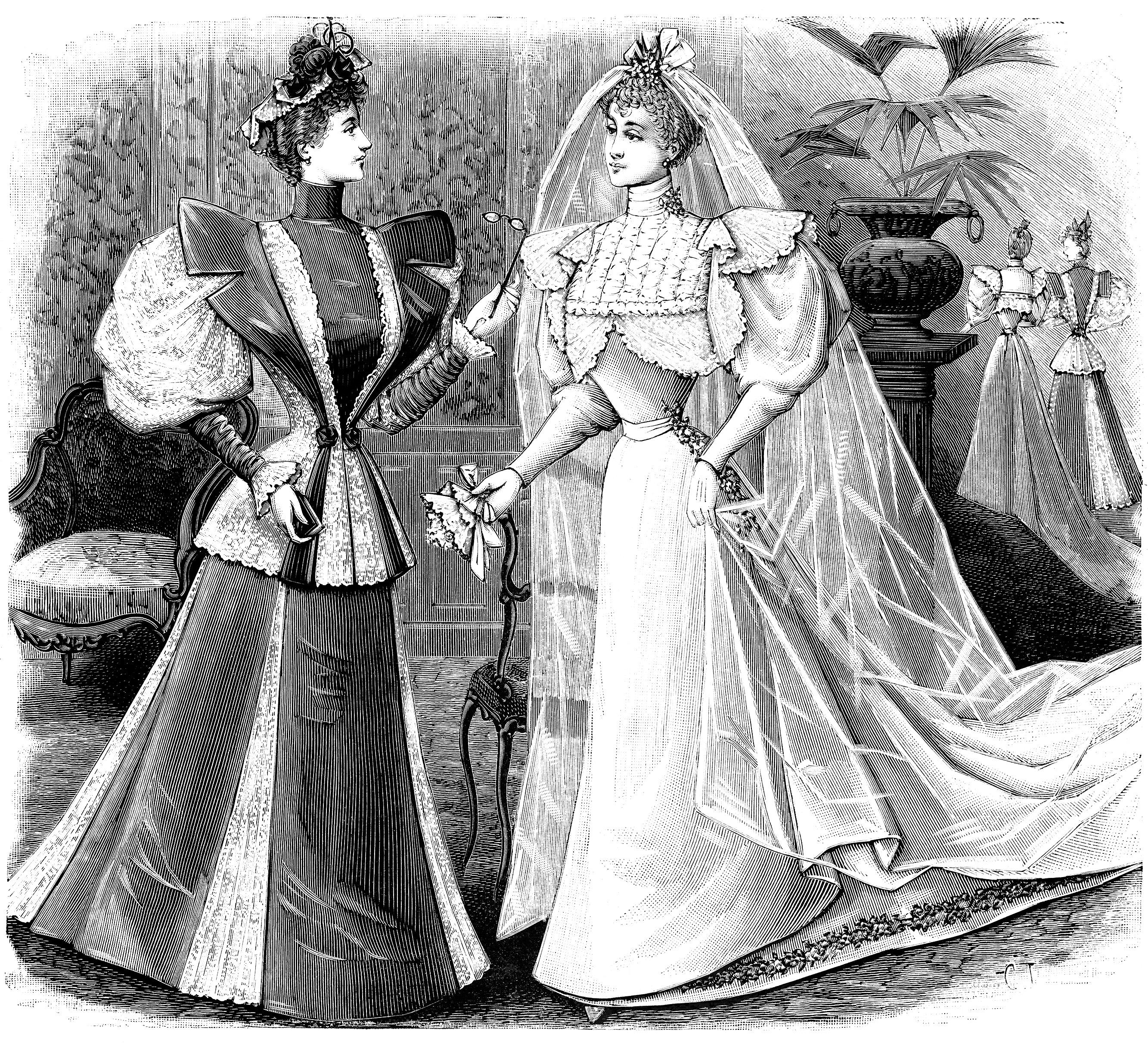 vintage bride, antique bride engraving, French bride illustration, free vintage image, old fashioned wedding graphics, vintage wedding clip art