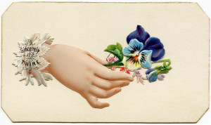 Free vintage image Victorian calling card hand holding pansies