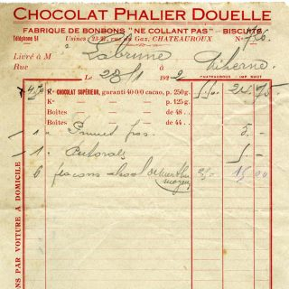 Free vintage clip art French invoice chocolat phalier douelle