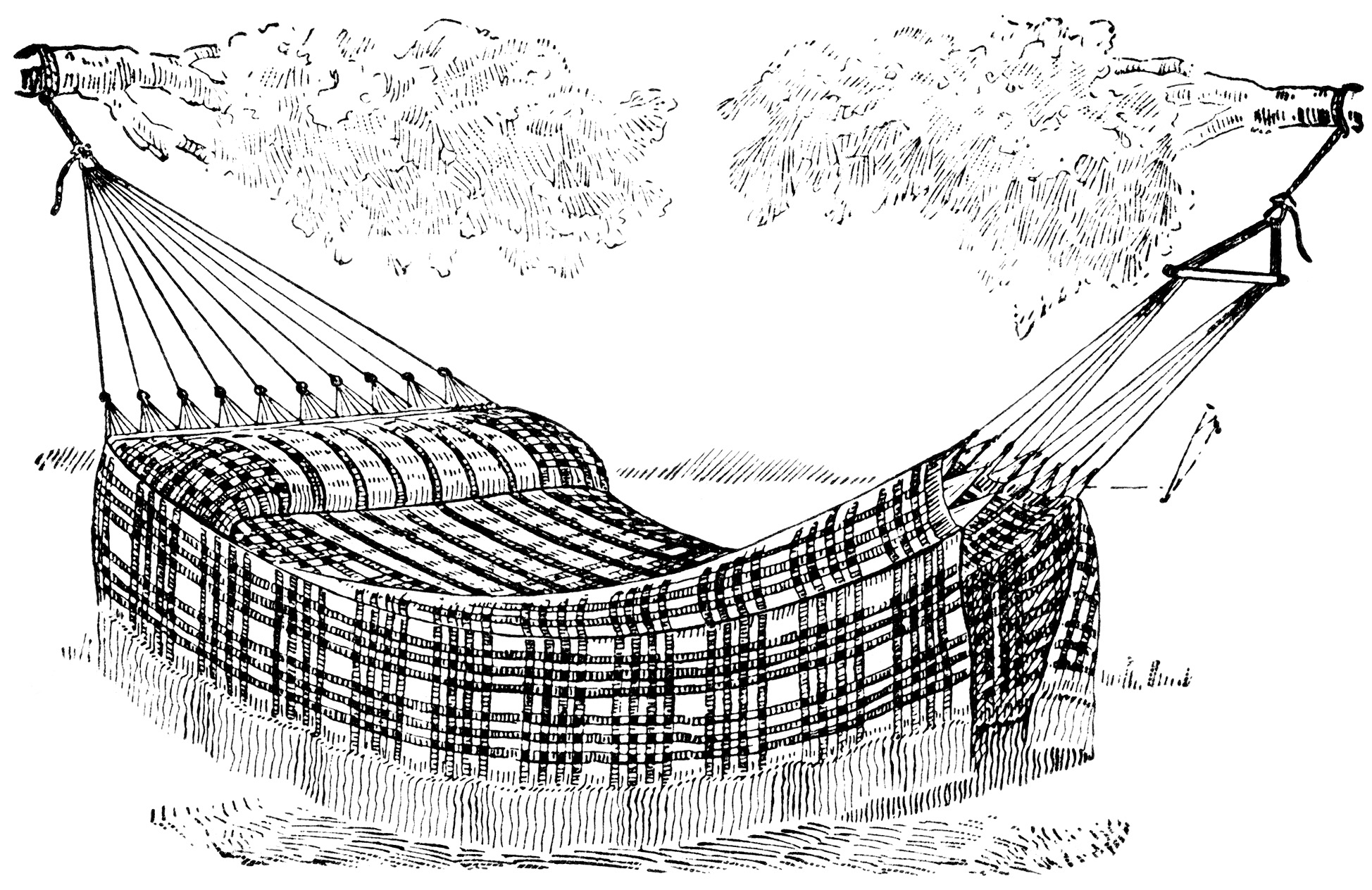 vintage hammock clip art, black and white clipart, vintage summer graphics, old fashioned plaid hammock, outdoor bed illustration