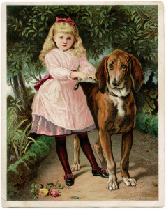 Free vintage clip art girl in pink dress walking large dog Victorian trade card