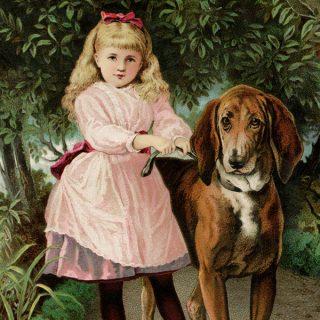Free vintage clip art girl in pink dress walking large dog Victorian trade card