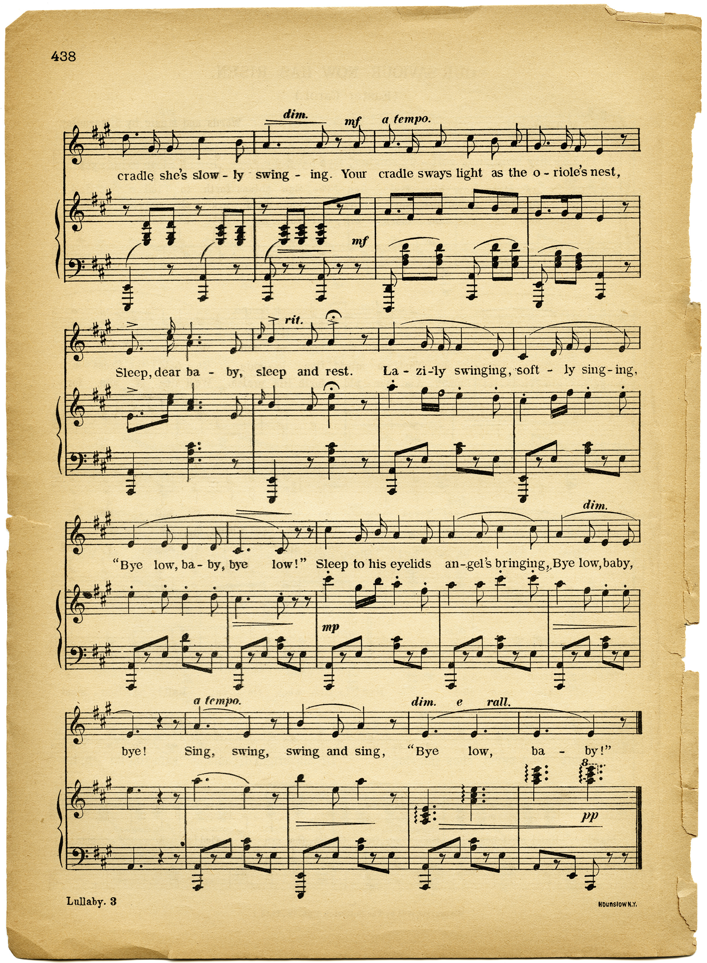 free vintage images lullaby sheet music old design shop blog. Black Bedroom Furniture Sets. Home Design Ideas
