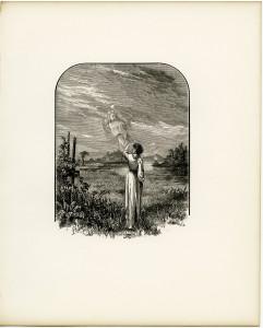 Free vintage illustration angel waving goodbye