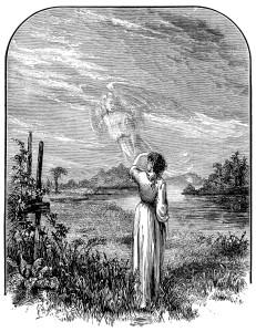 Free vintage clip art illustration angel waving goodbye