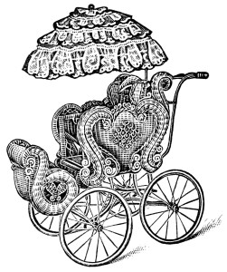 Free vintage baby carriage pram clip art illustration