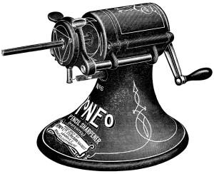 Free vintage pencil sharpener clip art illustration