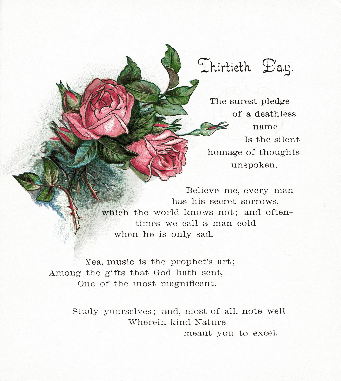 pink roses and poem vintage clip art old design shop blog