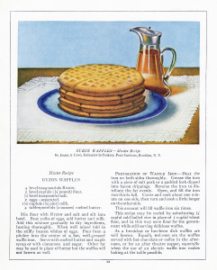 ryzon waffle recipe, old fashioned waffles, antique cookbook page, vintage breakfast image, plate of waffles clip art