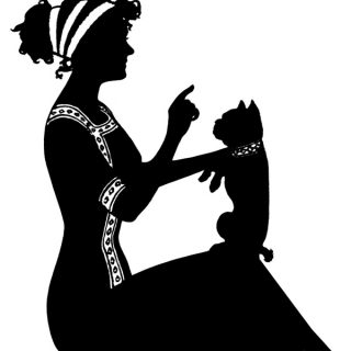 Free vintage clip art silhouette of lady teaching dog