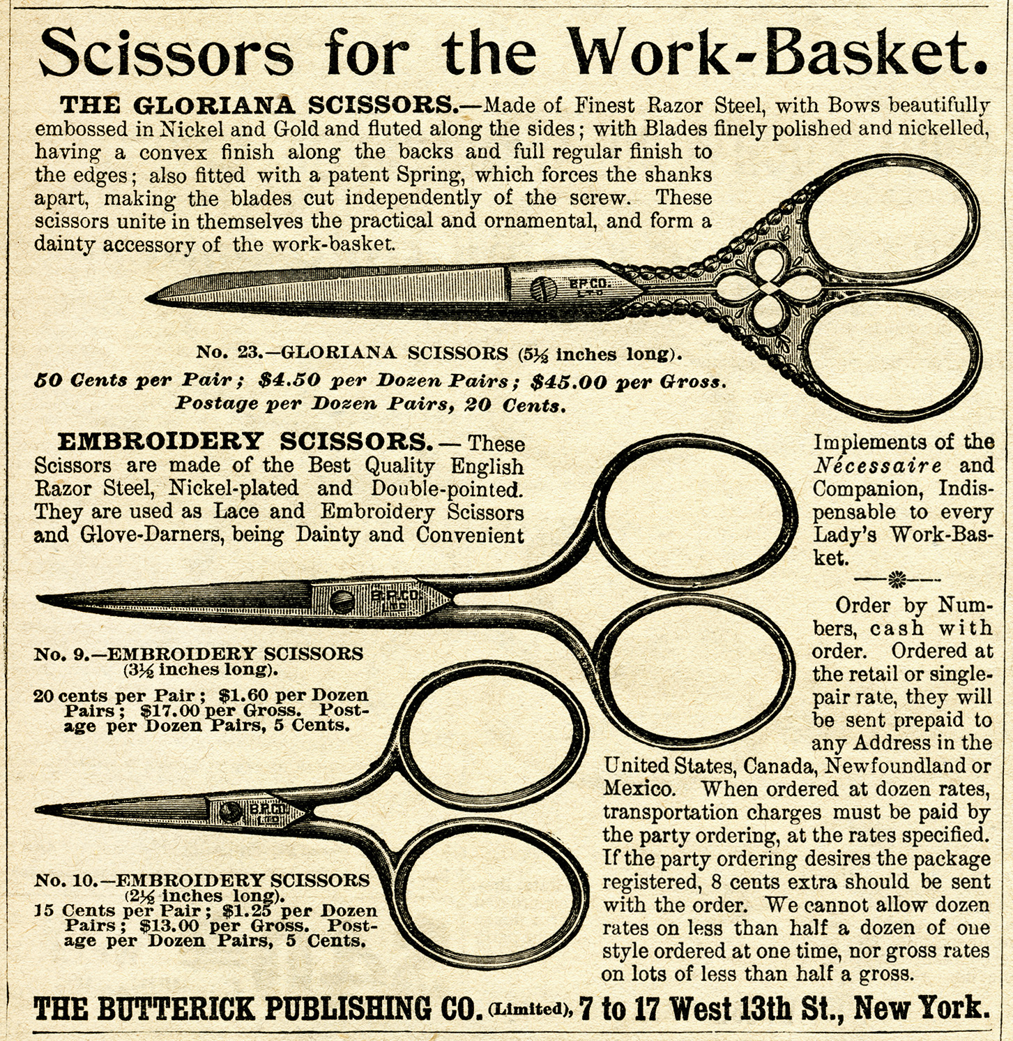 vintage sewing clip art, clipart scissors, old magazine advertisement, work basket scissors ad, free vintage image