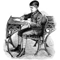 Free vintage image Victorian school boy sitting at desk clip art illustration