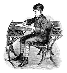 Free vintage image Victorian school boy sitting at desk clip art illustration