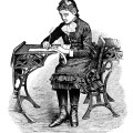 Free Victorian school girl black and white vintage clip art illustration