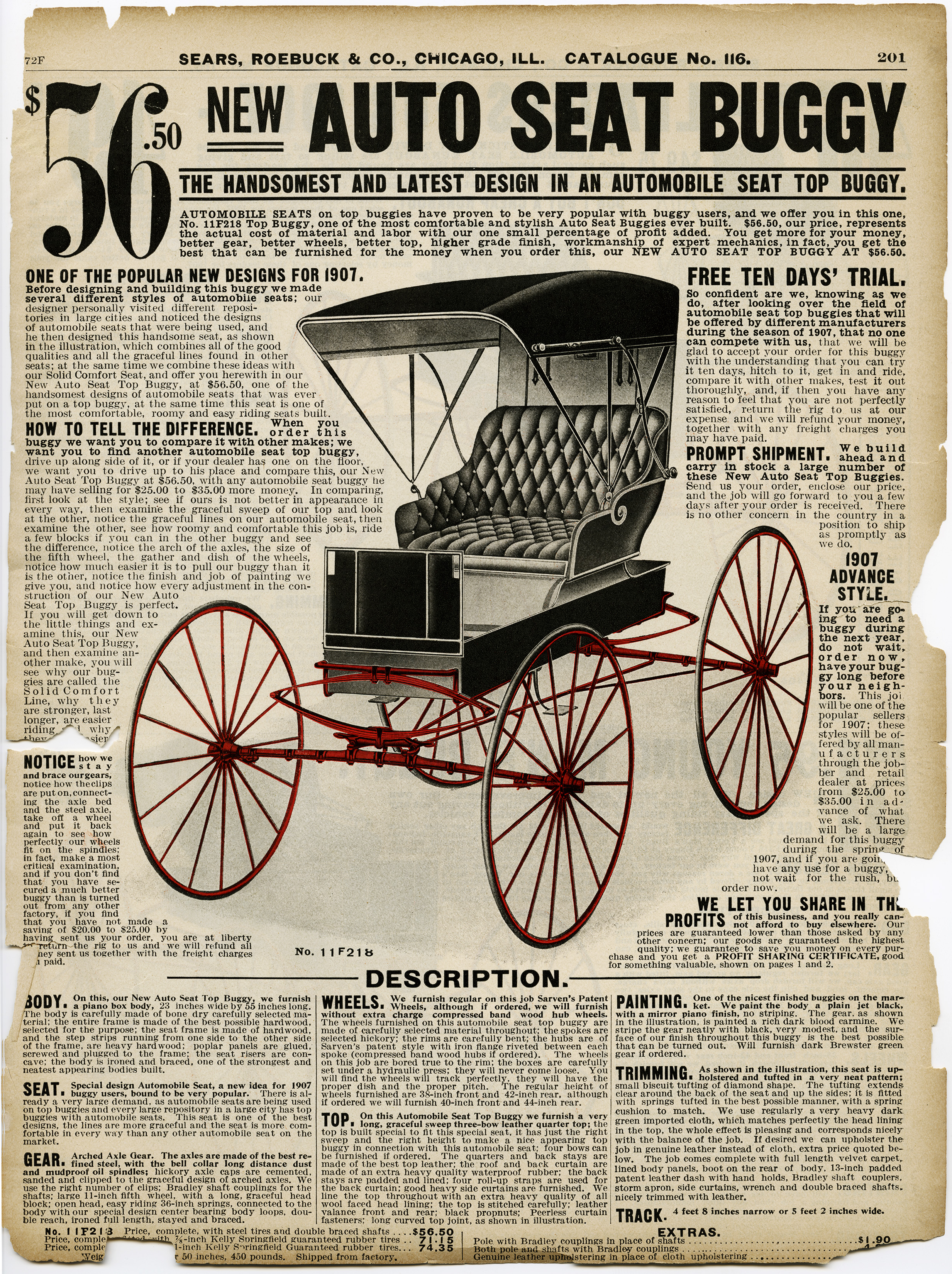 Free Vintage Image Auto Seat Buggy Catalogue Page Old
