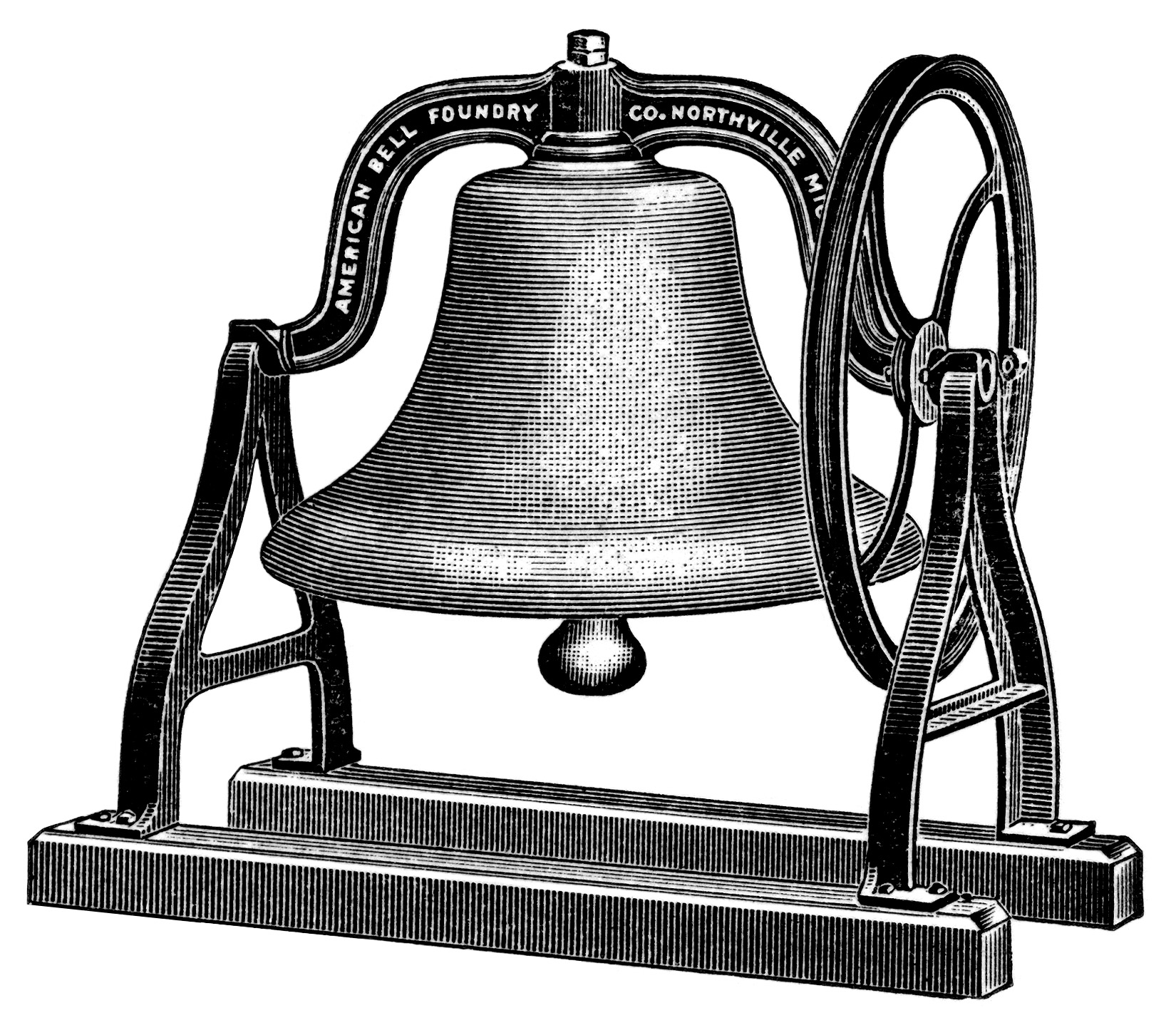 vintage clipart school bell, old school graphics, black and white clip art, antique school bell illustration, free school printable image