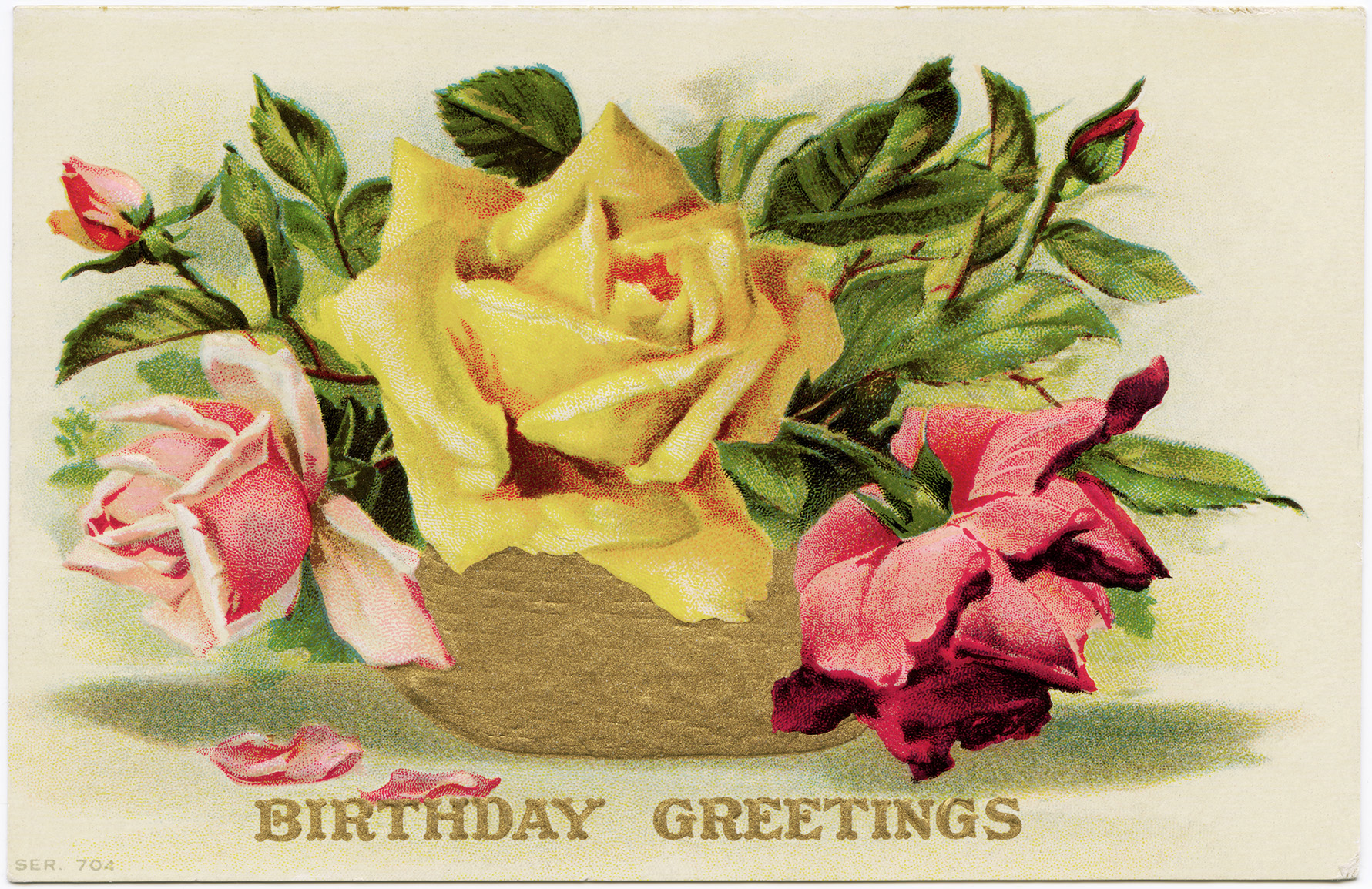 Free Vintage Image Roses Birthday Postcard Old Design Shop Blog