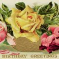Free vintage clip art birthday postcard yellow pink roses